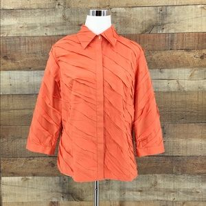 LAFAYETTE 148 Womens Orange Button Up Shirt Sz 12